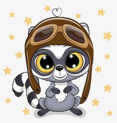 Cute cartoon raccoon in a pilot hat vector
