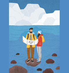 Cute couple in love performing outdoor touristic vector