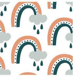 cute rainbows hand drawn doodles seamless pattern vector image