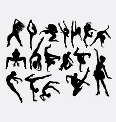 Dancing male and female silhouette vector