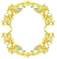 Decorative round frame ornamental floral vintage vector image