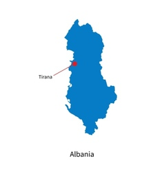 Detailed map of Albania and capital city Tirana vector image