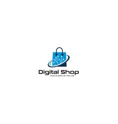 Digital logo online shopping vector