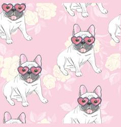 Dog french bulldog heart sunglasses glasses icon vector