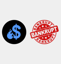 dollar fire icon and distress bankrupt vector image