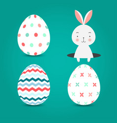 easter eggs set collection and bunny on turquoise vector image vector image