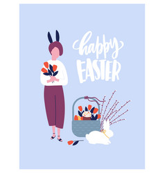 easter greeting card template with wish vector image