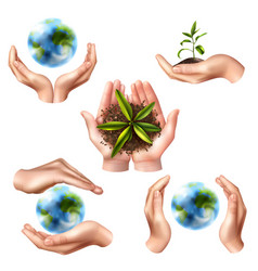 Ecology symbols with realistic hands vector