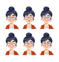 Face expressions of woman in glasses vector