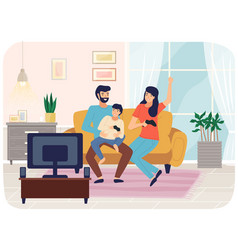 Family playing video games mom dad and son gaming vector