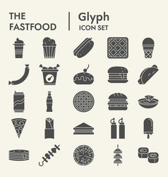 fastfood glyph icon set snack symbols collection vector image