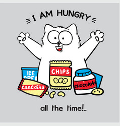 fat white cat with open arms crazy eyes vector image