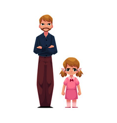 father and daughter standing with frowned angry vector image