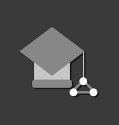 Flat icon design molecules square academic cap vector