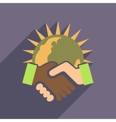 Flat web icon with long shadow handshake vector