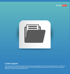 folder icon - blue sticker button vector image