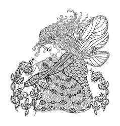Forest fairy with wings in flower for adult anti vector image