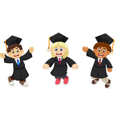 funny three graduates cartoon vector image