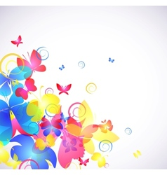Glowing abstract background with butterfly vector image