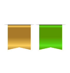 Gold and green bookmark banner 3d vertical book vector