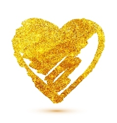 Golden glitter grunge heart isolated on white vector