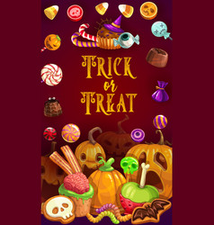 halloween sweets chocolate caramel snack treats vector image