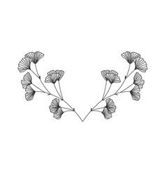 hand drawn ginkgo biloba wreath on white vector image