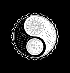 hand drawn yin yang symbol sun and moon with face vector image