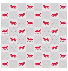 Happy new year red horse seamless pattern vector image