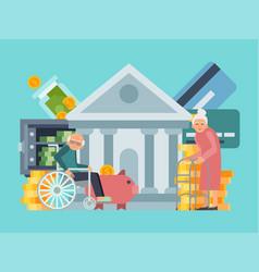Happy senior old people saving pension money bank vector