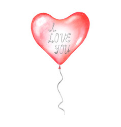 i love you calligraphy lettering on flying balloon vector image