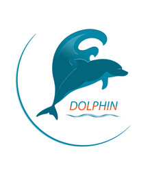 logo dolphin and wave vector image