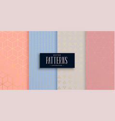 Lovely geometric pastel and gold pattern set vector