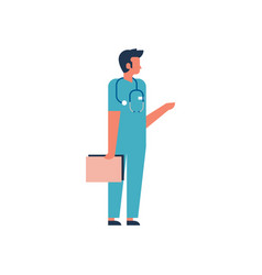 man hold clipboard medical doctor phonendoscope vector image