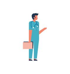 Man hold clipboard medical doctor phonendoscope vector