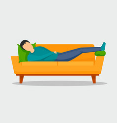 man sleeping at sofa banner horizontal flat style vector image