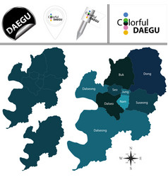 map of daegu with districts south korea vector image