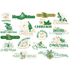 Merry christmas typography set vector