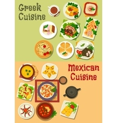 Mexican and greek cuisine icon for food design vector