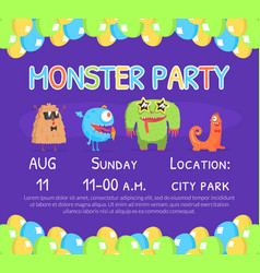 monster party invitation card template with cute vector image