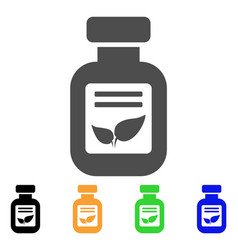 Natural drugs vial flat icon vector