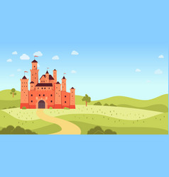 natural landscape with medieval castle and vector image