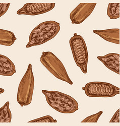 natural seamless pattern with ripe pods or fruits vector image