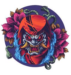 Oni daruma mascot logo design vector