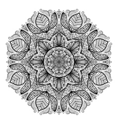 Page of coloring book with round mandala vector