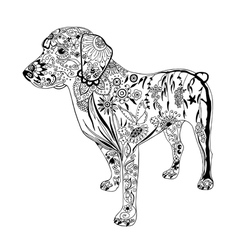 Patterned dog drawing hand drawn doodle vector