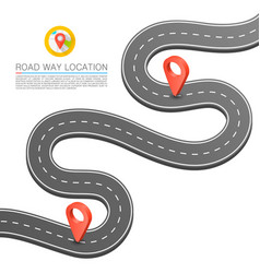 Paved path on the road curved road markings vector