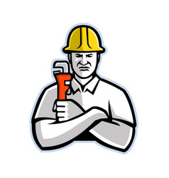 Pipefitter holding pipe wrench mascot vector