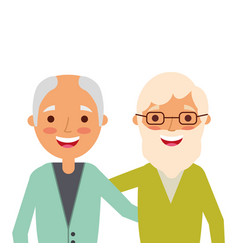 portrait of older men friends embracing happy vector image