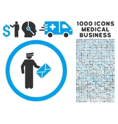 Postman Rounded Icon With Medical Bonus vector image